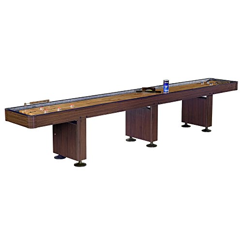 Hathaway BG1212 Challenger Shuffleboard Table w Walnut Finish, Hardwood Playfield, Storage Cabinets