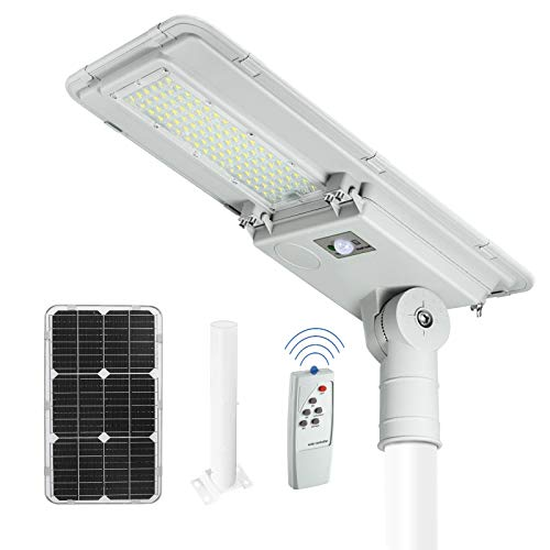 10000LM Solar Street Light, 6000K Solar Street Lights Outdoor Dusk to Dawn with Motion Sensor for Parking Lot Lighting, Commercial Area Lighting