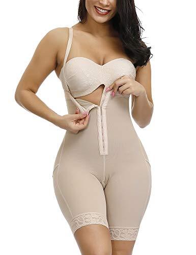 FeelinGirl Faja Braga Reductora Shapewear Adelgazante - Mujer Pantalones Moldeadores con Tirantes Ajustables y Desmontables de Encaje Beige XL/Talla 42-44