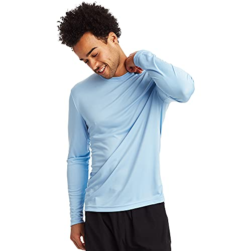 Hanes Men's Long Sleeve Cool Dri T-Shirt UPF 50+, Medium, 2 Pack ,Light Blue