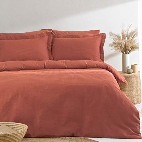 The Linen Yard Waffle Duvet Cover Set, Red Clay, Super King