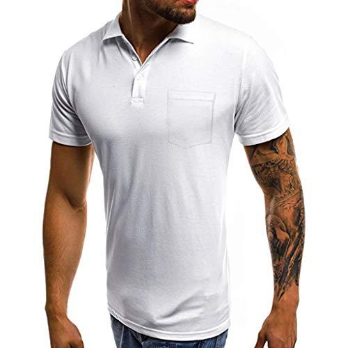 CICIYONER Poloshirts Herren sommershirts Casual Slim Kurzarm Pocket Button T-Shirt Top Bluse Schwarz Weiß Grau Rot Blau S M L XL XXL XXXL