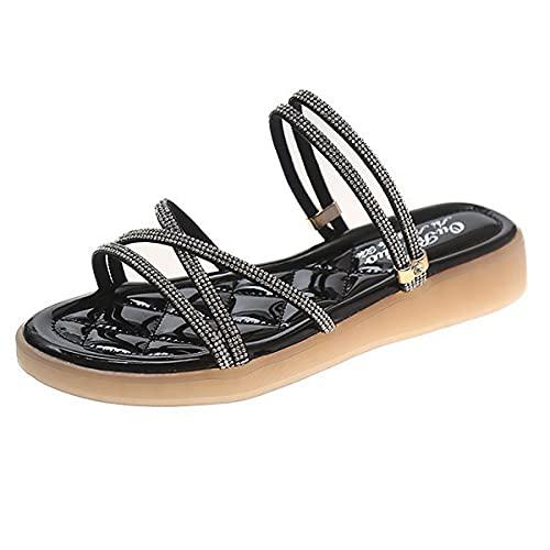 ZYGF Sandalias para mujer, 2 en 1, sandalias planas para mujer, cómodas y transpirables, sandalias para mujer con decoración de diamantes de imitación para exteriores, viajes en la playa