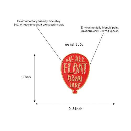 JTXZD broche Clown Rode Ballon emaille pin Het badge broche Lapel pin voor Denim Jeans shirt tas Horror Movie voor fans vrienden
