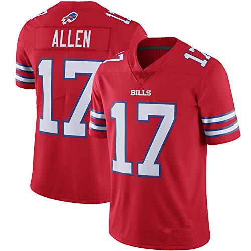 Herren Rugby-Trikot #17 Bills Allen für Retro Gym Sport Top American Football Trikot, 123, rot, XL(85~95KG)
