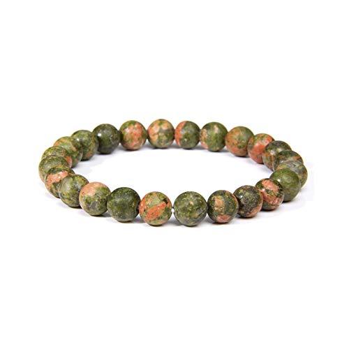 Bracelet Las mujeres cuentas de piedra natural hombres con cuentas muñeca hombres mujeres piedra natural apilable Mala Jewelry-unkaite-21cm