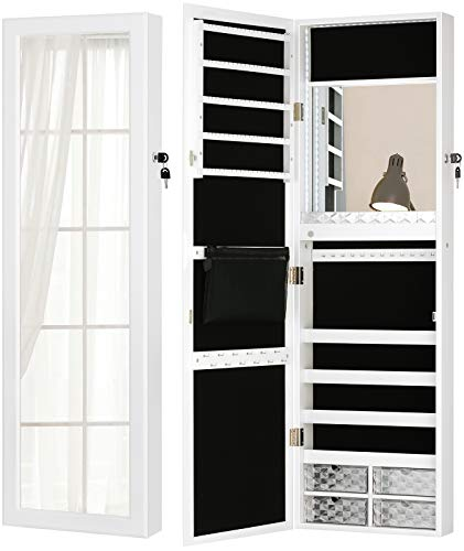 LUXFURNI LED Light Jewelry Cabinet Wall-Mount/Door-Hanging Mirror Makeup Lockable Armoire, Large Storage Organizer w/Drawers (White)