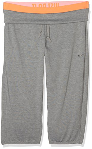 NIKE Women's Loose Workout Obsessed-Pantalón Capri-SU14 - Graumelange/Orange Talla:Extra-Large