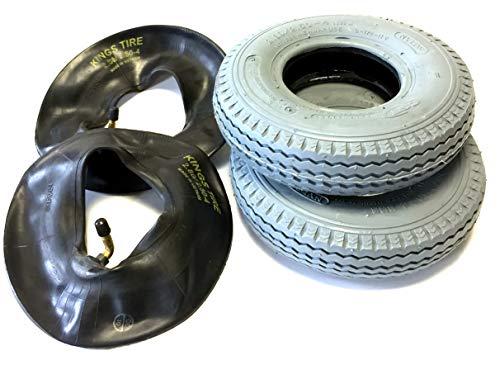 Rollstuhlreifen 2 Stück 2.80/2.50-4, grau, 2 Stück Schlauch Winkelventil, Stabiler 4 PR Reifenaufbau, Rollstuhl Reifen für Elektromobil, Scooter, E-Rollstuhl