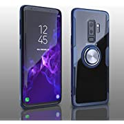 Samsung Galaxy S9 Plus Case, Transparent Crystal Clear Cover with Slim Silicone Rubber Bumper Frame and 360° Rotating Magnetic Finger Ring & Kickstand Compatible with Samsung Galaxy S9 Plus - Blue