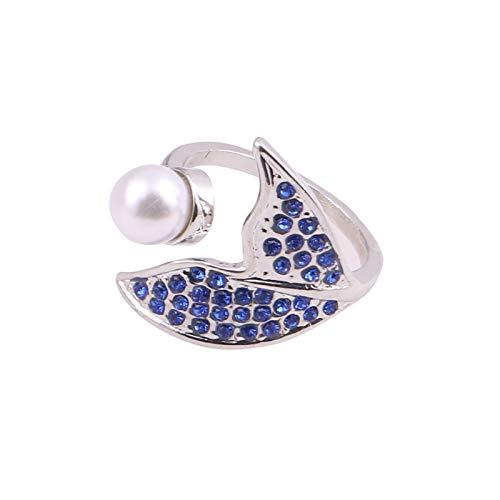 minjiSF Anillo abierto con diseño de delfín con perlas de zafiro, para mujer, elegante, ajustable, bisutería pequeña, fresca, joyas de boda, alianzas, colgantes, regalos (azul)
