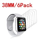 [6 Pack] Apple Watch Screen Protector 38MM PET, Kwbiw HD Screen Protector Anti-Bubble Scratch-Resistant Guard Cover 3D Hydrogel Protective Soft Film Apple Watch Series 4 38mm PET