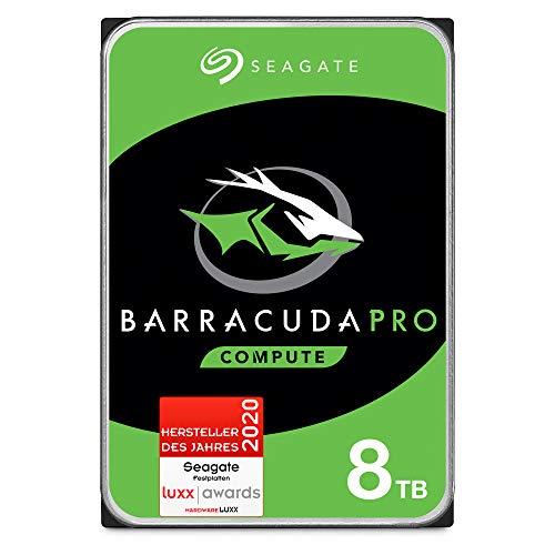 SeagateBarraCuda Pro, interne Festplatte 8 TB, 3.5 Zoll, 7200 u/min, 256 MB Cache, SATA 6 Gb/s, silber, FFP, Modellnr.: ST8000DMZ004
