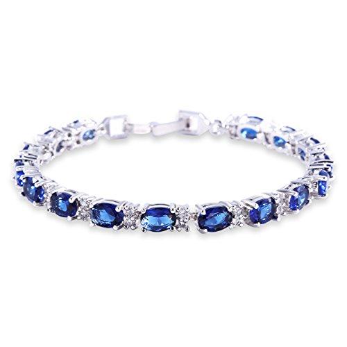 GULICX Oro Blanco galvanizado circonita Azul Cristal Pulsera Romana Tenis Pulsera Enlace Cadena de Color Azul Zafiro