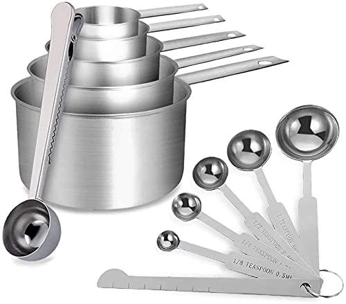 12 tazas de medición de acero inoxidable de primera calidad y cucharas de cucharas, con regla de cucharada / clip, mediciones fáciles de leer, para ingredientes secos y líquidos, excelentes herramient