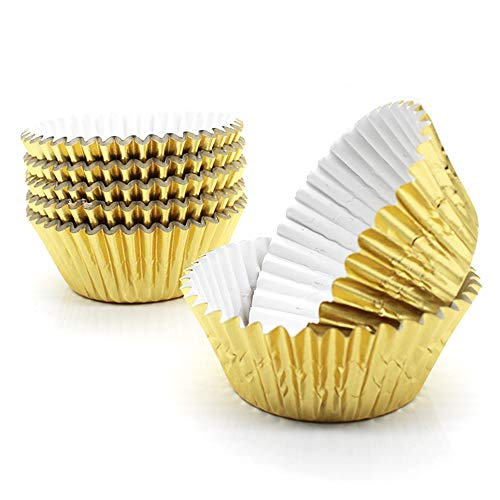 Gold Cupcake Liners,GOLF Standard Gold Foil Cupcake Liners Wrappers Metallic Baking Cups ,Muffin Paper Cases, 100 Pack