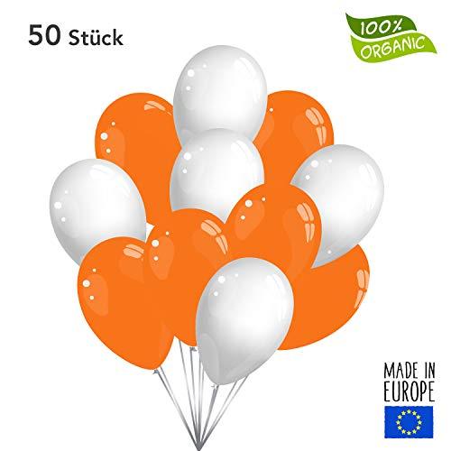 50 Premium Luftballons in Orange/Weiß - Made in EU - 100% Naturlatex somit 100% giftfrei und 100% biologisch abbaubar - Geburtstag Party Hochzeit Silvester Karneval - für Helium geeignet - twist4®