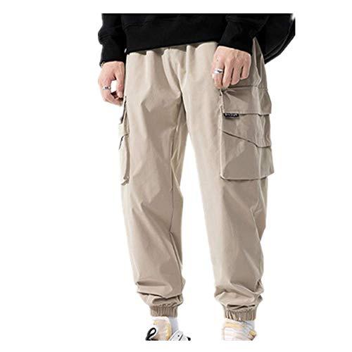 N\P Streetwear Hip Hop Cargo Pantalones de los Hombres Joggers Pantalones Multi-Bolsillo Negro Pantalones Deportivos Casual Pantalones Hombre