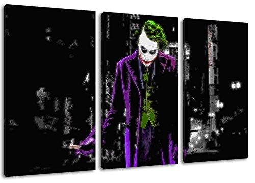 Dream-Arts Dark Joker Motiv, 3-teilig auf Leinwand (Gesamtformat: 120x80 cm), Hochwertiger Kunstdruck als Wandbild. Billiger als EIN Ölbild! Achtung KEIN Poster oder Plakat!