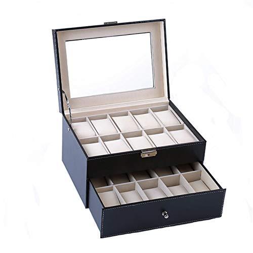 Caja de almacenamiento de reloj Caja de la colección de joyas Mostrar vidrio Top Jewelry Bag Bolsa de almacenamiento Serie de pulsera Dox-Layer 20 Reloj que son adecuados para relojes de la mayoría de