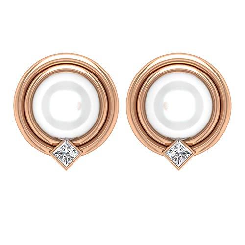Pendientes únicos de boda, 6 ct 7 mm, perla de agua dulce, pendientes de diamante de corte princesa HI-SI, pendientes de dama de honor, pendientes minimalistas 10K Oro rosa, Par