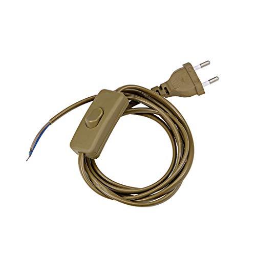 sourcing map Lámpara Cuerda En Línea Botón Interruptor AC 250V 2.5A Lámpara Luz Balancín Interruptor con 6-Pies Cable Alimentación Tipo C Enchufe Olive