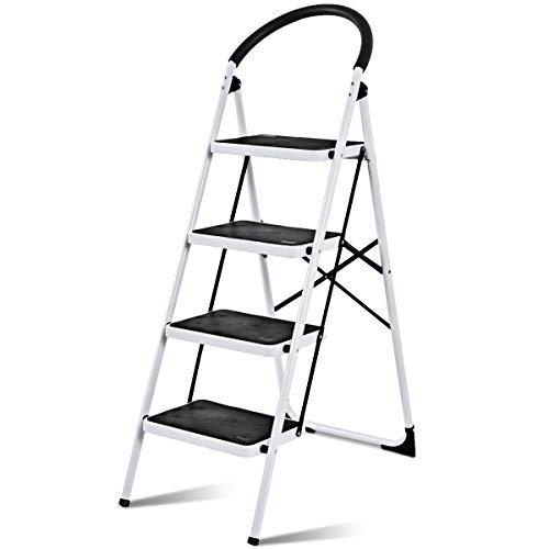 COSTWAY Escalera Doméstico de Metal Plegable Escalerilla con Apoyabrazos Carga Hasta 150KG (4 Peldaños)