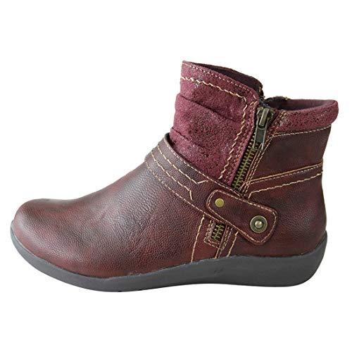 DaoAg – Zapatos de Piel para Mujer con Puntera Redonda Antideslizante, con Cierre, cómodos, Botines de…