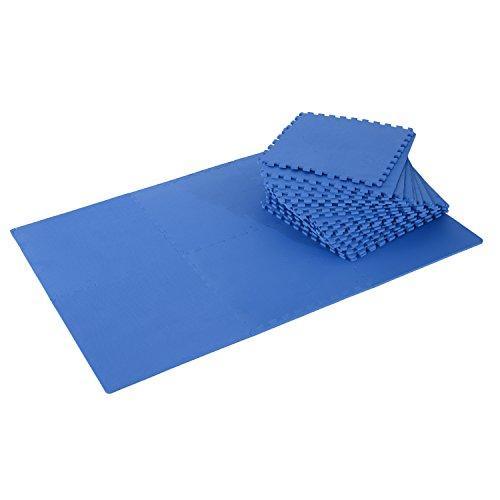 HOMCOM Tapis en Mousse de Protection Sol Tapis de Fitness 62 cm x 62 cm x 1 cm avec Bordures Tapis Puzzle 25 pièces 9,3 m² de Surface Bleu
