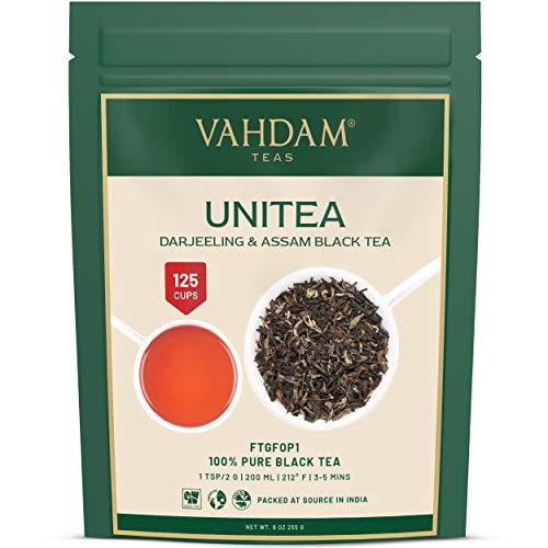 VAHDAM, UNITEA Té negro, 255 gramos (100 tazas o más) | Mezcla de té Darjeeling y té Assam | Hojas de té negro 100{e692a3eeac2d12e8c09bf083168e52a1f1db1af43478612dacfba57861f99d5c} PURO | ROBUSTO Y SABOR Hoja de té negro suelta de la India