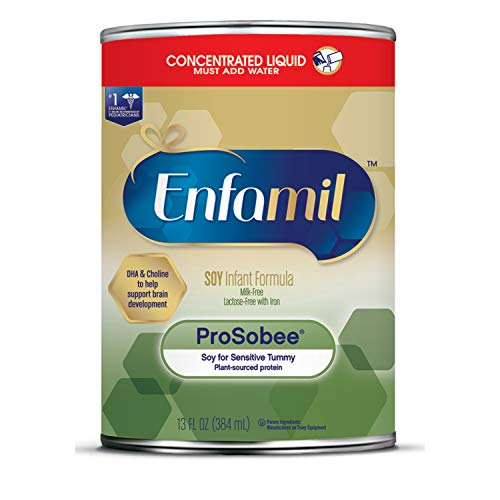 Enfamil ProSobee Soy-Based Infant Formula for Sensitive Tummies, Dairy-Free, Lactose-Free, Milk-Free, and DHA for Brain Support, Plant-Sourced Protein Concentrated Liquid Can, 13 Fl Oz