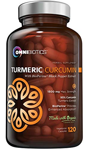 Organic Turmeric Curcumin Supplement 1500mg with BioPerine   95% Standardized Curcuminoid Extract & Organic Root Powder with Piperine Black Pepper Fruit (10mg), 120 Vegetarian Capsules