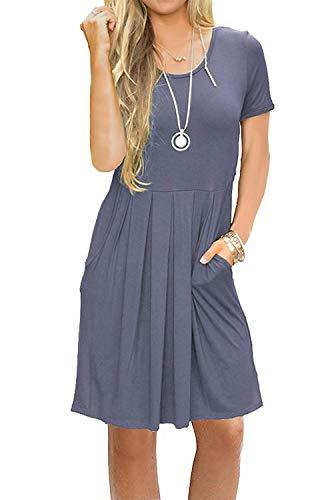 AUSELILY Women's Short Sleeve Pockets Pleated Loose Swing T-Shirt Dress Purple Gray XL