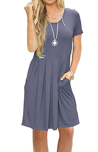 AUSELILY Women's Short Sleeve Pockets Pleated Loose Swing T-Shirt Dress Purple Gray XL