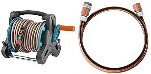 GARDENA Classic Schlauchtrommel 10 Set: Gartenschlauchset inkl. & Anschlussgarnitur Comfort Flex Schlauchadapter zum Anschluss des Schlauchwagens