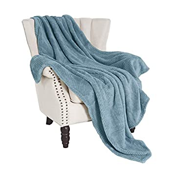 Exclusivo Mezcla Waffle Textured Soft Fleece Blanket Large Throw Blanket Slate Blue 50 x 70 inches - Cozy Warm and Lightweight