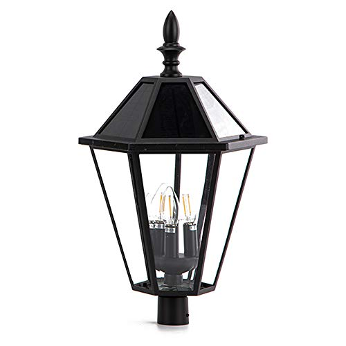 LUTEC 12513LE4-SL-Head LED Post Solar Light Outdoor Vintage Street Lights for Lawn Patio Yard Pathway Garden Mount Base Not Included