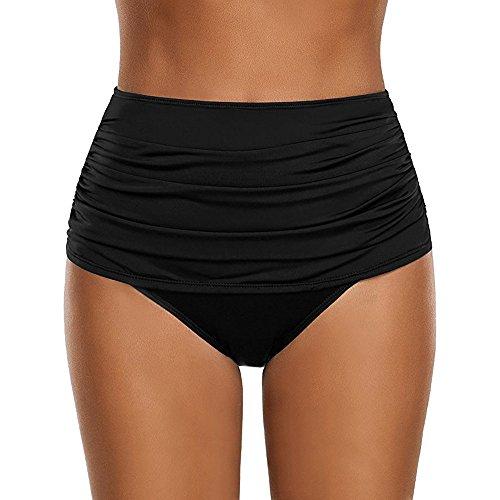 iYmitz Bademode Bikini Damen Hoch taillierte Swim Bottom Geraffte Tankini Badeanzug Slips Plus Size Beachwears Beachshorts Badeshorts
