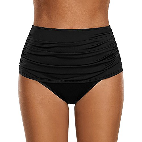TWGONE High Waisted Bikini Bottoms Tummy Control Women's Plus Size Ruched Swimsuit Briefs (X-Large,Black)