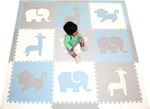 SoftTiles Foam Play Mat- Safari Animals- Interlocking Foam Puzzle Mat for Kids  Toddlers  Babies Playrooms/Nursery- Size 6.5 x 6.5 ft.- (Light Blue  Light Gray  White)