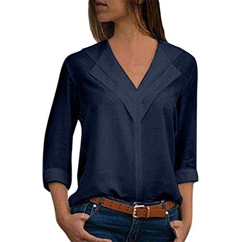 Blusa Gasa Mujer Verano, Forme a Mujeres la Camiseta sólida de la Gasa de la Oficina de Las señoras Plain Roll Sleeve Blusa Tops(M,Armada)