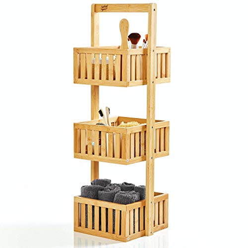 bambuswald© Estante de Ducha Natural con 3 Compartimentos de Almacenamiento Hechos de 100% de bambú | autoportante Aprox. 82,5x27x26cm - Estante de baño Estante de Madera Estante de pie Cocina