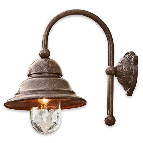 Loberon Außenwandlampe Keela, Eisen, Aluminium, Glas, H/B/T 46/26 / 43 cm, antikbraun, E27, max. 40 Watt, A++ bis E