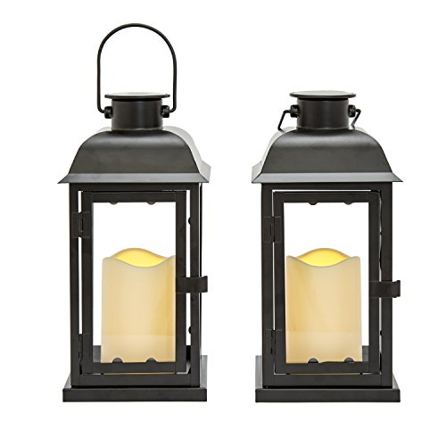 Solar Powered Outdoor Lanterns - 11 Inch Tall, Set of 2, Decorative Candle Lantern for Patio, Waterproof, Black Metal & Glass, LED Pillar Candle, Dusk to Dawn Timer, Batteries Included