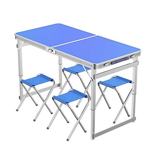 Folding table Tables et chaises Pliantes Portables, Pliage Rapide en 8 Secondes, Hauteur réglable 3/70/60 / 55cm pour Partie de Pique-Nique intérieure et extérieure -LJ Jing Shop (Couleur : Bleu)
