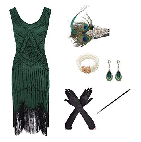 shoperama 20er Jahre Charleston Flapper Damen-Kostüm Grün Pailletten-Kleid mit Fransen und 5-TLG. Pfau Zubehör-Set, Größe:S