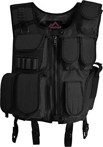 normani SWAT Weste Einsatzweste mit vielen Taschen und Pistolenholster in Schwarz Farbe Schwarz Größe XL/XXL