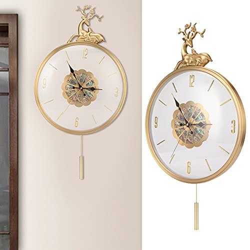 Jeffergarden Reloj de Pared, Reloj de péndulo con péndulo oscilante, Reloj Decorativo Vintage silencioso para Sala de Estar, Dormitorio, decoración del hogar, 50x35 cm