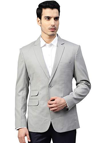 MANQ Men Grey Slim Fit Self Print Single Breasted Blazer (Size: 40)