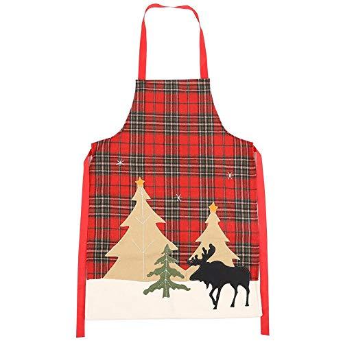 Cafopgrill Rode Kerst Apron, Kerst Thema Patroon Herten Rode Lattice Koken Schort Voor Thuis Keuken Party BBQ Diner Gebruik